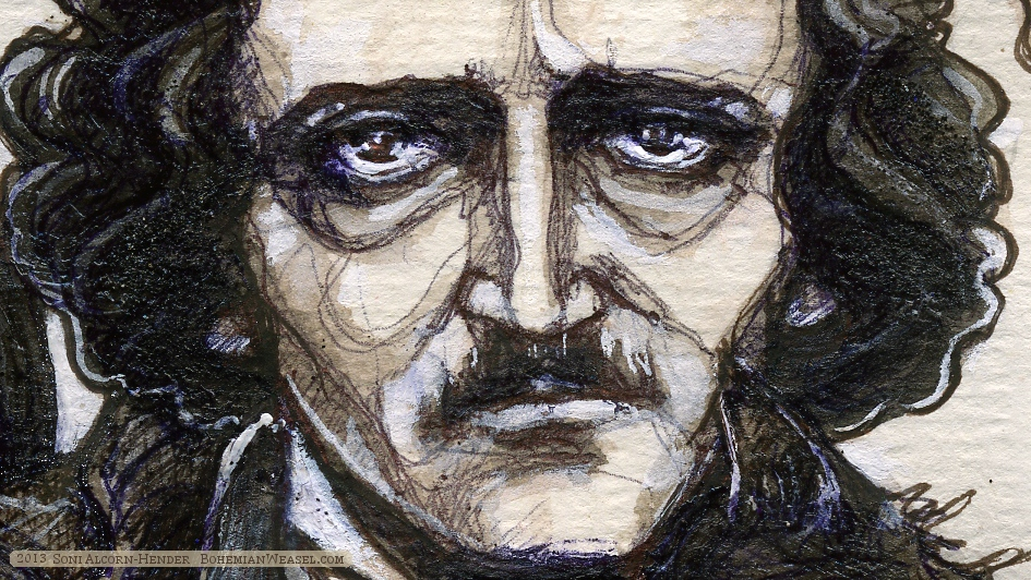 Poe detail: face (by Soni Alcorn-Hender)
