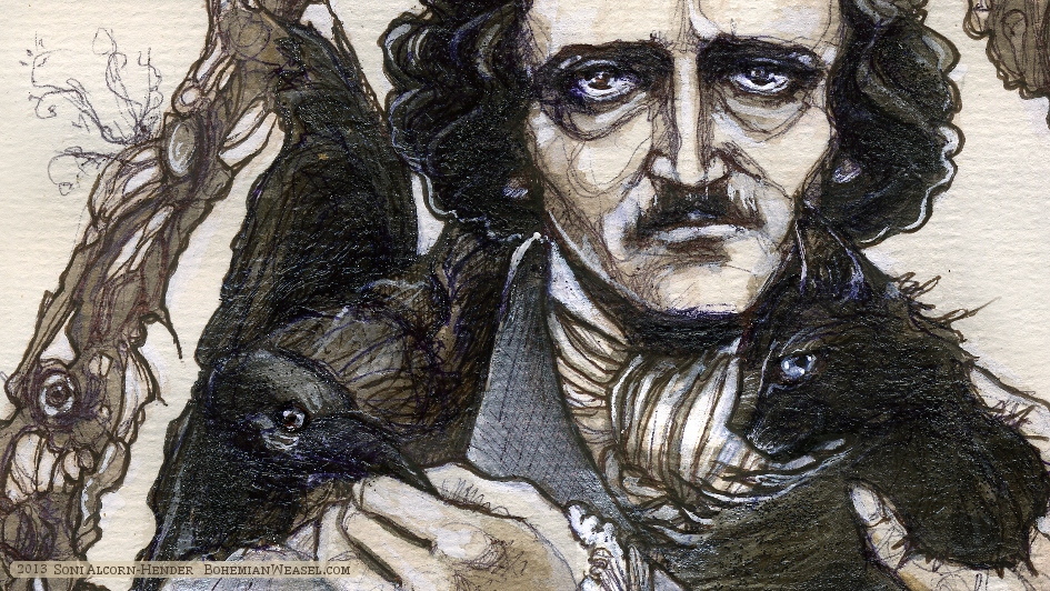Edgar Allan Poe (with cat, raven, and Death's head bug) By Soni Alcorn-Hender