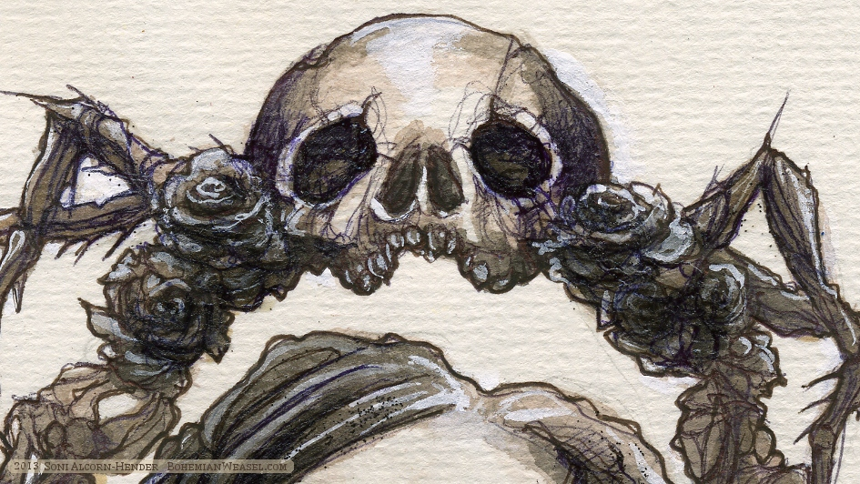 Poe detail: Death's head bug (by Soni Alcorn-Hender)