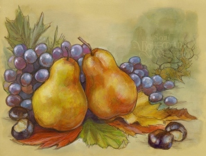 Autumn still-life with pears and grapes, by Soni Alcorn-Hender