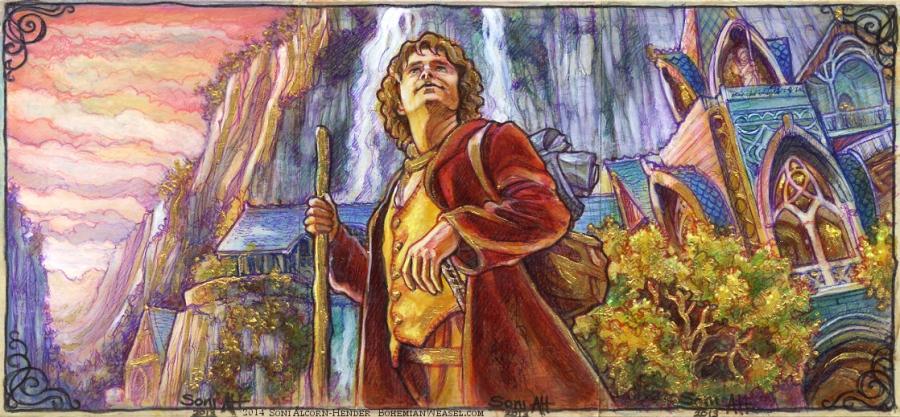 Bilbo's arrival in Rivendell. By Soni Alcorn-Hender