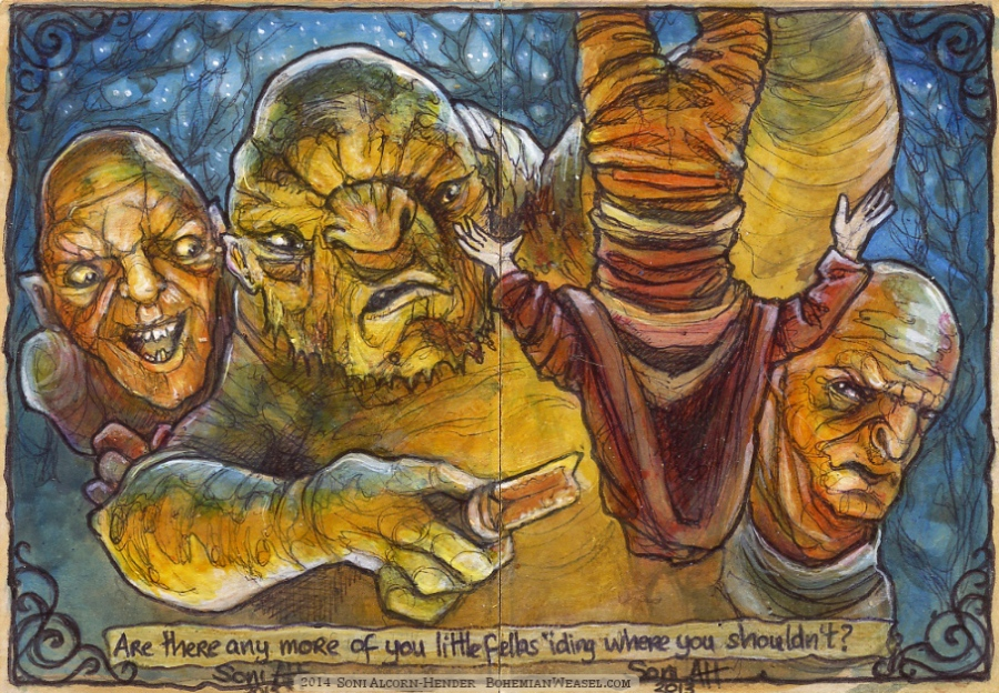 Trolls and a Hobbit. By Soni Alcorn-Hender
