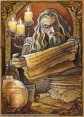 Gandalf in the archives of Gondor, by Soni Alcorn-Hender