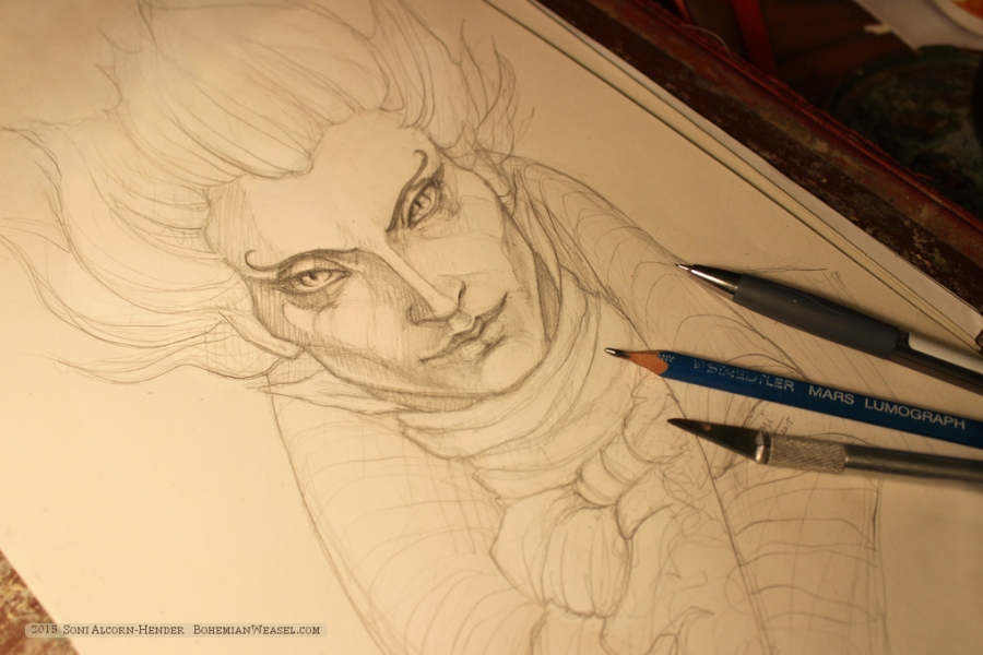 Gentleman with the Thistle-down Hair, from Strange & Norrell, sketch by Soni Alcorn-Hender