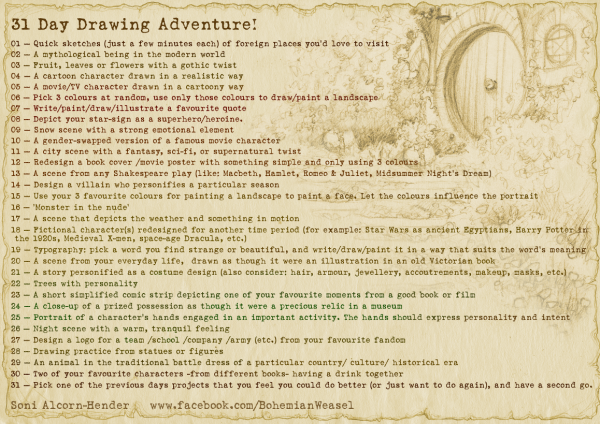 Bohemian Weasel's 31 Day Drawing Adventure challenge thing for illustrators and fan-artists
