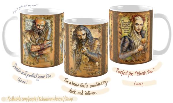 Bohemian Weasel RedBubble Hobbit cups
