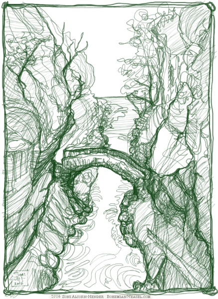 Continuous drawing of Gorges de l'Areuse, Soni Alcorn-Hender