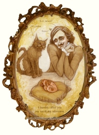 Horror Valentine, Poe and cat, by Soni Alcorn-Hender
