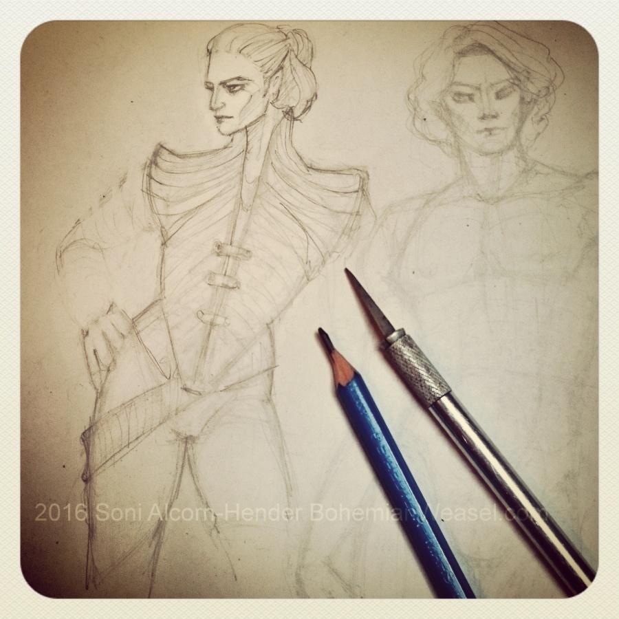 Elf costume sketches, Soni Alcorn-Hender