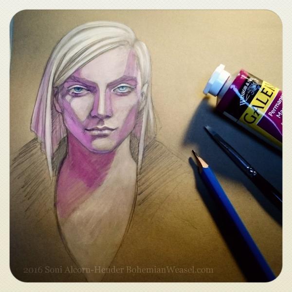 Warm-up sketch 'Gabriel' by Soni Alcorn-Hender