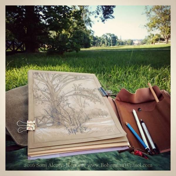 Summer in the park sketch, outdoor studio, Soni Alcorn-Hender