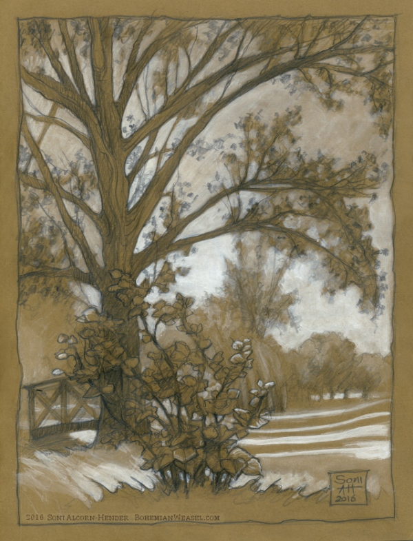 Summer in the park sketch, Soni Alcorn-Hender