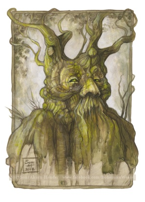 Treebeard, inspired by the 'Big Belly' oak of Savernake forest, painting by Soni Alcorn-Hender