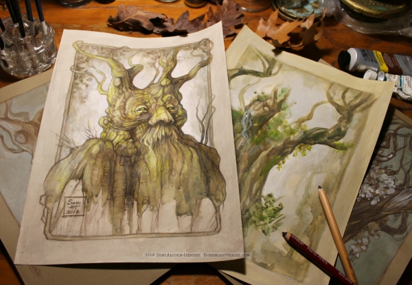 Treebeard and Ent sketches, Soni Alcorn-Hender