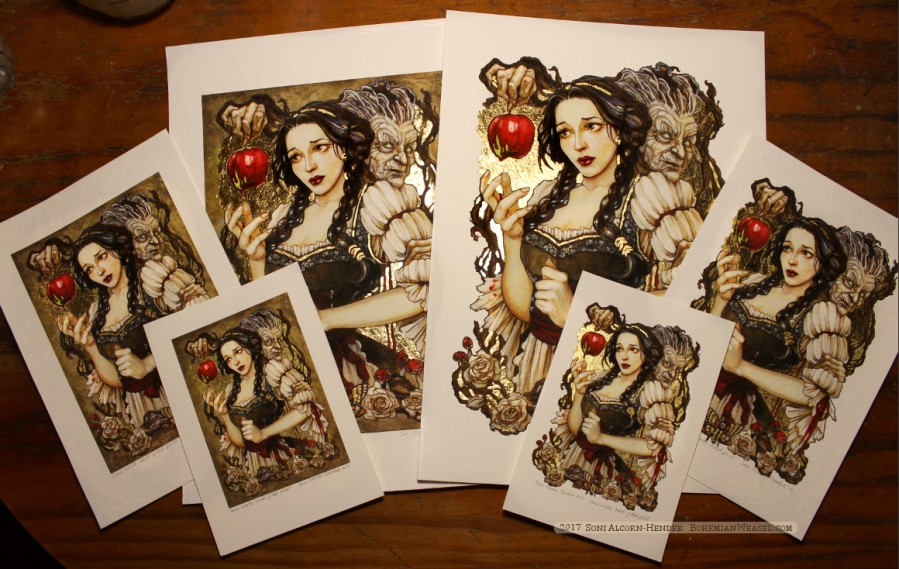 Snow White gilded prints, Soni Alcorn-Hender