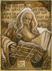 Gandalf and the Book of Marzabul in Moria, by Soni Alcorn-Hender