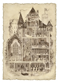 Hogwarts school Harry Potter Sepia diagram illustration
