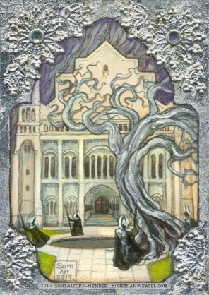 Minas Tirith in Gondor, Erebor, gilded sketch card by Soni Alcorn-Hender