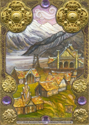 Meduseld in Rohan, Erebor, gilded sketch card by Soni Alcorn-Hender
