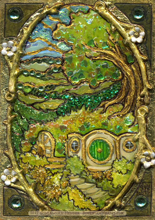Shire stained-glass effect gilded sketch card by Soni Alcorn-Hender