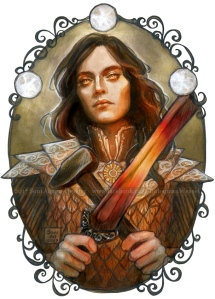 Fëanor with Silmarils, sword, and blacksmith hammer, illustration by Soni Alcorn-Hender