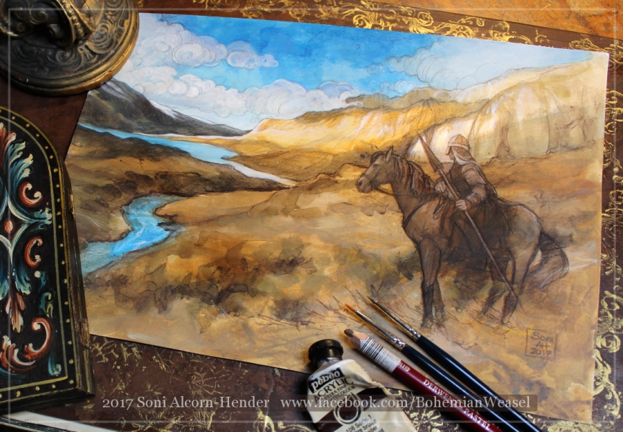 Rohan landscape sketch, Soni Alcorn-Hender