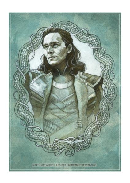 Loki, sketch by Soni Alcorn-Hender