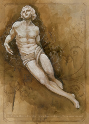 Statue of earthly desires, sketch by Soni Alcorn-Hender