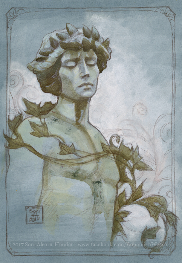 Forgotten in ivy, sketch by Soni Alcorn-Hender