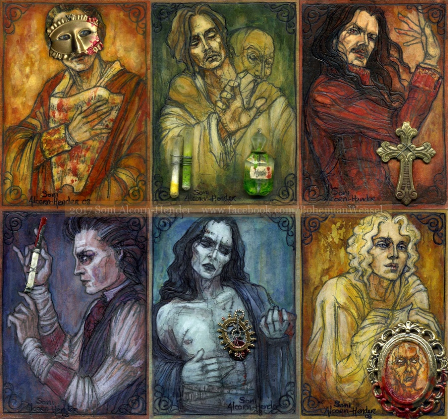 Phantom of the Opera, Jekyll&Hyde, Dracula, Sweeney Todd, Frankenstein's Monster, and Dorian Gray, by Soni Alcorn-Hender