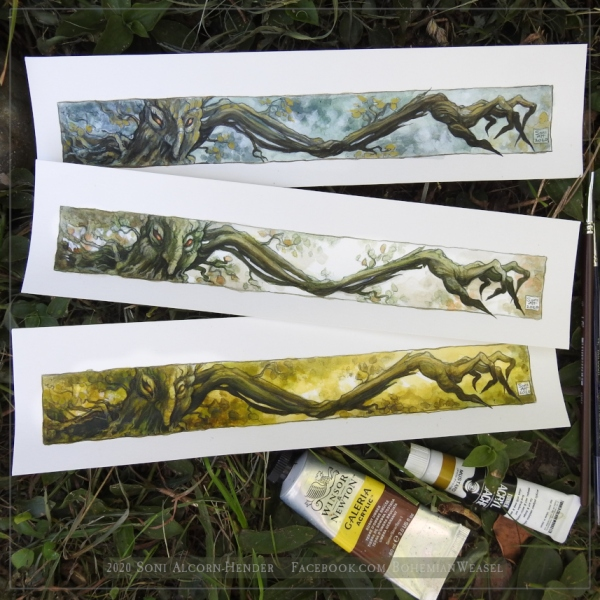 Old Forest Tree paintings, by Soni Alcorn-Hender