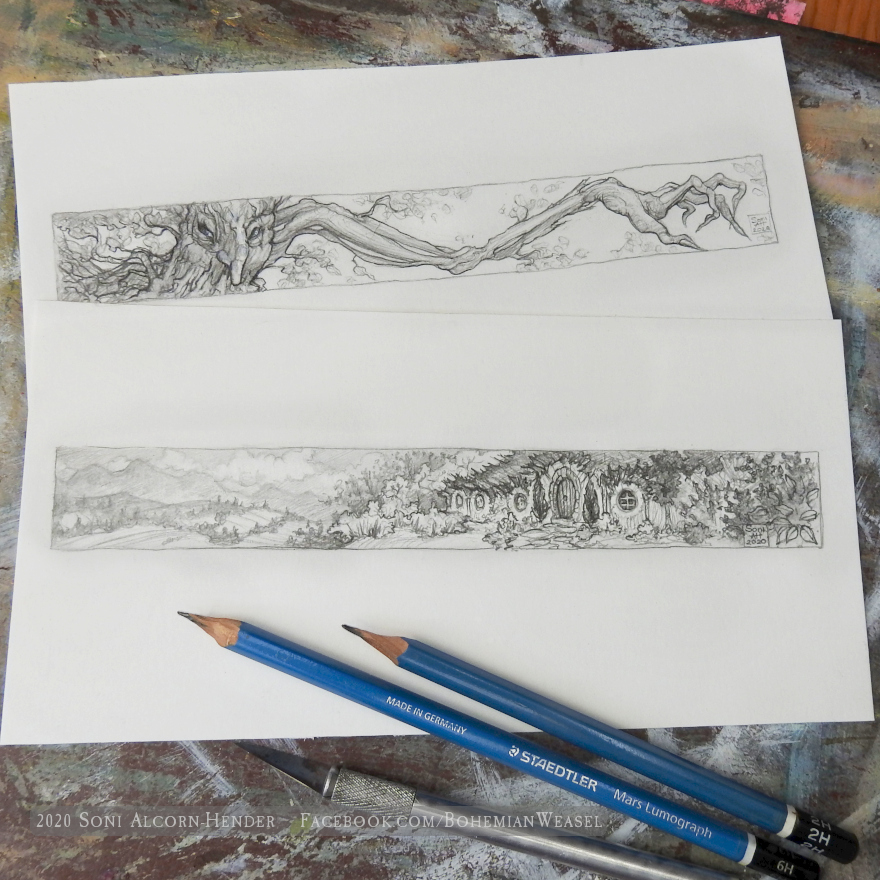Old Forest evil tree and Bag End pencil sketches, by Soni Alcorn-Hender
