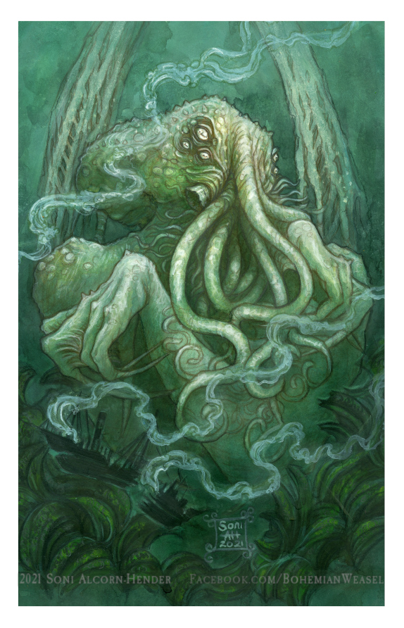 In his house at R'lyeh, dead Cthulhu waits dreaming, by Soni Alcorn-Hender
