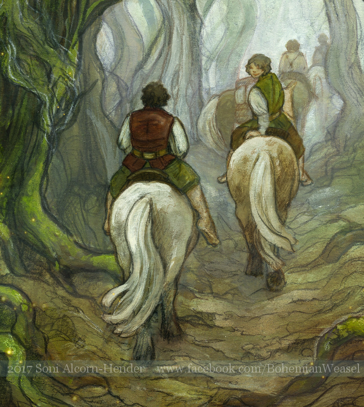 Old Forest, detail: Merry and Frodo, Soni Alcorn-Hender