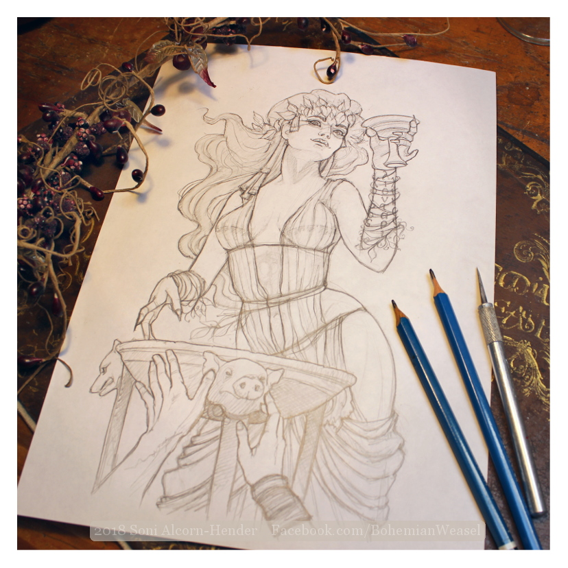Circe sketch, Soni Alcorn-Hender